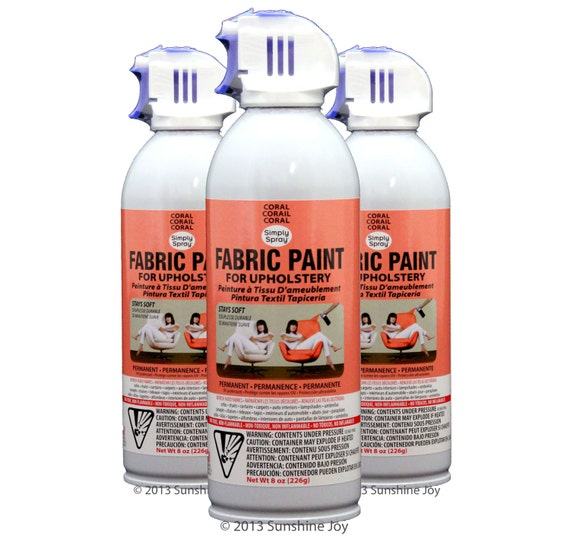Simply Spray Upholstery Fabric Spray Paint Dries Soft Permanent Coral Peach 3 Pack From