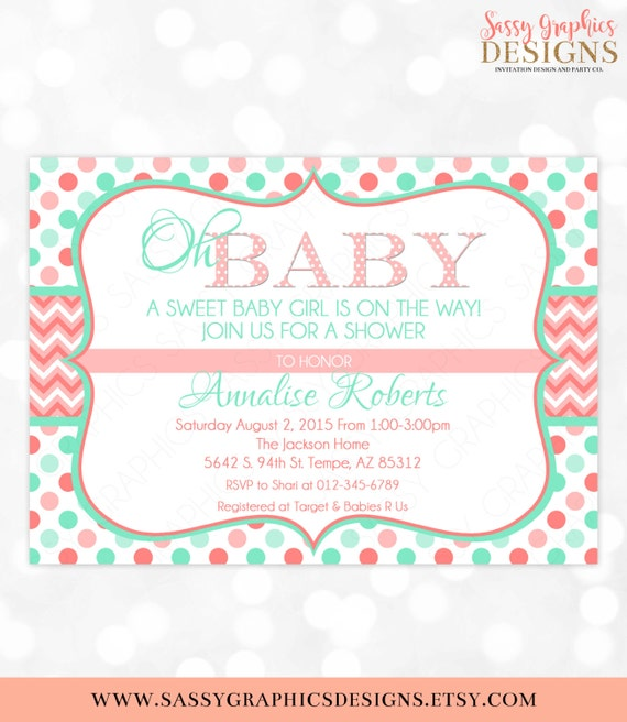 Polka Dot Girl Baby Shower Invitation Baby Girl Coral Mint