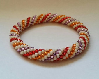 Feel of Autumn Spiral Seed Bead Crochet Bangle - Ready to Ship