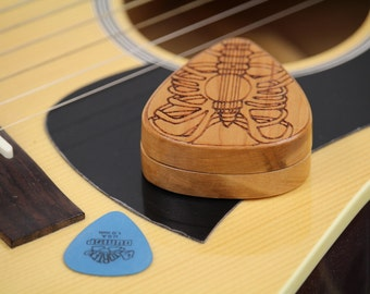 "Skeleton Pattern Guitar Pick Box,  2-1/4"" x 2"" x 3/4"" d, Pattern G35 Slender, Solid Cherrywood, Laser Engraved, Paul Szewc"