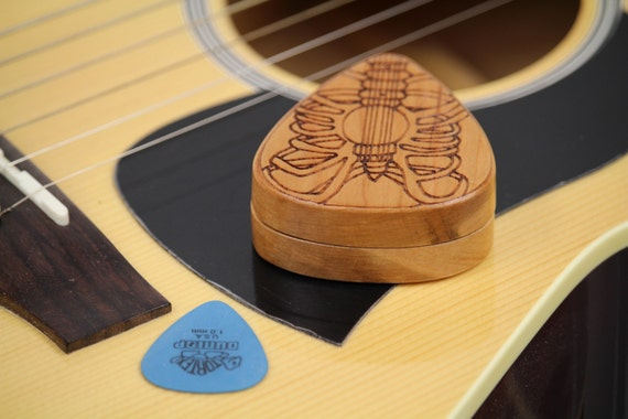 "Guitar Pick Box,  2-1/4"" x 2"" x 3/4"" d, Pattern G35 Slender, Solid Cherrywood, Laser Engraved, Paul Szewc"