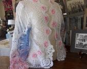 Timeless Vintage Crochet Doilies Sweater/Jacket by Fleurdelis123 OOAK, Repurposed, Upcycled,