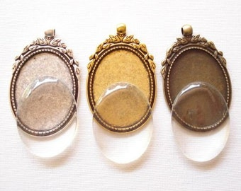 Bulk 6sets Oval Cameo Setting and Clear Glass Cabochons Antiqued Silver Tone/Bronze/Gold 40x30mm B1257(Mix)