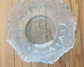 Vintage 40's Icy Blue Glass Candy Bowl
