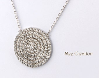 NE301001WG) White Gold Plated 925 Sterling Silver CZ Circle Disc Necklace