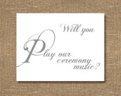Will You Play Our Ceremony Music Card | Classy Wedding | Classic Handwritten Look | Personalized | Ask Musician to Play | Blank Thank You