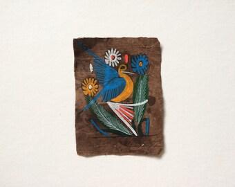 Vintage Mexican Folk Art Bark Paintings, Day-Glo Birds