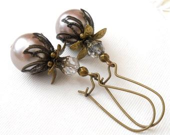 champagne pearl boho earrings dangle earrings champagne pearls dangle earrings brass earrings beaded pearl earrings