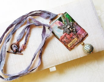 Mixed Media Collage Pendant Necklace/Wearable Art/Fairy Necklace/Long Pendant Necklaces for Women/Multi-color Pendant