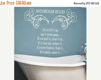 15% OFF Bathroom Rules decal wall art - Vinyl Lettering  decal wall words graphics  decals  Art Home decor itswritteninvinyl