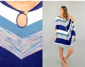 LABOR DAY SALE 70's Space Dyed Stripe Poncho