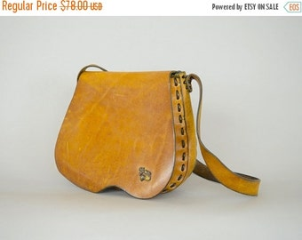 SUMMER SALE 70's Distressed Saddle Bag