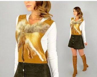 SUMMER SALE SALE • Leather + Red Fox Fur Top / Vest