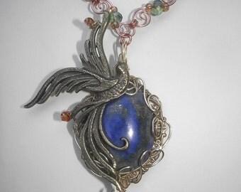 Lapis Lazuli Phoenix Necklace