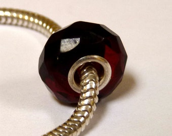 Baltic Amber Faceted European Charm Bead Cherry Color
