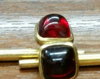Antique Art Deco gold ruby red cuff links
