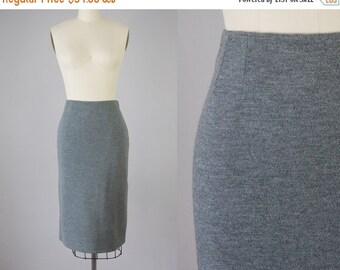 "SALE 1950s Vintage Grey Wool Knit Midi Skirt (M; 28"" Waist)"