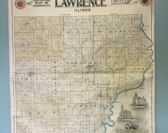 Large Antique Map of Lawrence County Illinois