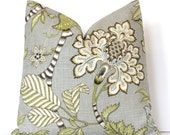Gray Jacobean Decorative Designer Pillow Cover accent cushion robins egg aqua charcoal grey cream green ikat boho floral light blue olive