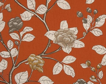 Persimmon Peony Decorative Designer Pillow Cover Accent chinoiserie cottage dwell orange red yellow taupe beige gray grey white floral