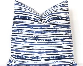 Indigo & White Shibori Style Stripe Decorative Designer Pillow Cover accent throw cushion navy ikat abstract denim tie dye blue boho ombre