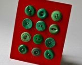 Vintage Buttons in Green Assorted Designs for Sewing and Crafting