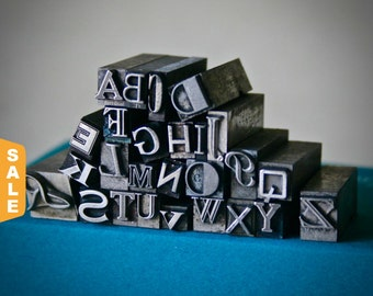 August is Letterpress Month - 20% off Letterpress Type Choose Your Letter or Number & Choose Your Style in Assorted Font Unisex Pendant