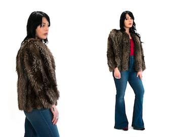 Vintage 1940's Krammer Furs Chicago Fur Zip Up Coat High Fashion Luxury with Black Satin Lining Women's Size Medium Vtg Vg