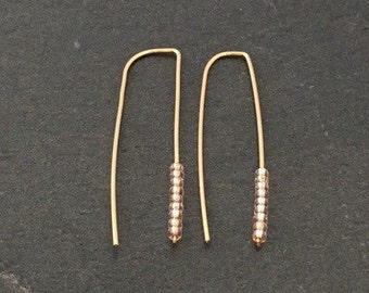 Gold ear tinsel earrings with clear silver beads stick dagger Modern minimalist dainty jewelry