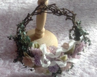 Pretty handmade dollhouse miniature wreath