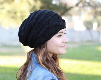 Black slouch hat, Slouch knit hat, Women black beanie, Cable knit hat, Black knit hat, Black slouch beanie, Women trend hat, Black hat women