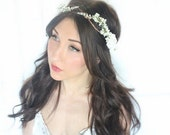 flower crown, bridal headpiece, wedding flower crown, ivory Flower crown, rustic head wreath, wedding headband, bridal hair