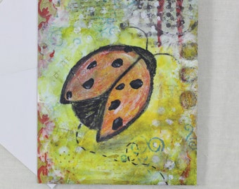 Note Cards Mixed Media Art Print Ladybug