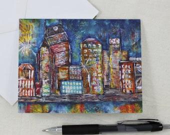 Note Cards Nashville Night City Skyline Art Print