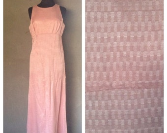 40% OFF Vintage 1970s Pink Shiny Maxi Dress M/L