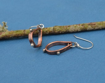Mixed Metal Copper and Sterling Silver Tear Drop Shaped Hoop Earrings
