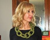 Felted Wool Link Necklace, Moss Green with Soft Gray