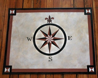 Sample Compass Rose Black Cream Rust Floor Cloth