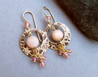Pastel Pink Opal Earrings with Genuine Peruvian Opal Hammered Bronze and Brass Earthy Natural Rustic Jewelry October Birthstone