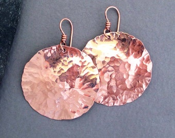 Hammered Copper Disc Earrings Artisan Handmade Jewelry Textured Distressed Metal Modern Boho Chic Bohemian Tribal Round Dangle Earrings