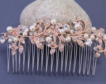 Hair comb Rose gold Wedding hair comb Pearl Bridal hair comb Wedding hair accessories Bridal hair piece Wedding headpiece Bridal comb pearl