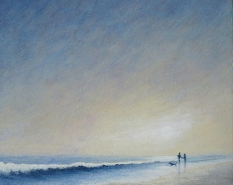Original acrylic painting evening walkies at the beach walking the dog by the ocean sunset