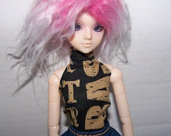 Pullip clothes - black with brown letters halter top