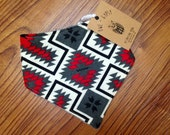 SALE 30% OFF. Red and Grey Aztec Bandana Bib. Drooler Bib for Baby Girls and Boys. Baby and Toddler. Gender Neutral Baby Gift.