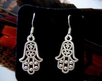 HAMSA AMULET EARRINGS for pierced ears in Sterling Silver