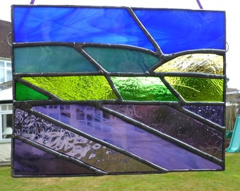 Stained Glass Purple Lavender Fields with Blue Green Hills Panel