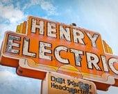 Henry Electric Neon Sign Photo - Tucson Wall Art - Retro Home Decor - Fine Art