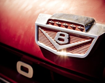 Red Ford Pick Up Truck Photo - V8 Chrome Emblem - Classic Car Photography - Fine Art
