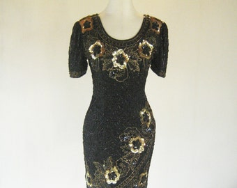 Floral Black & Gold Sequin Wiggle Dress Glam Small