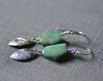 emerald leaf earrings